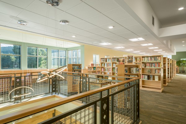 18 Waterbury Library chandelier and stacks