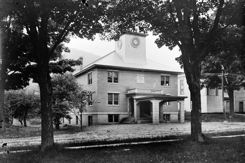 Pierce Hall entry historic architecture restoration 2