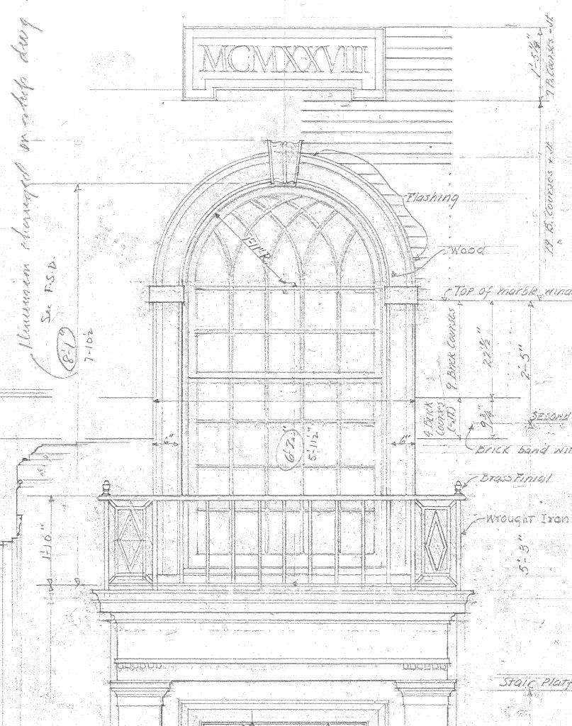 UVM Slade Hall McKim Mead and White window drawing