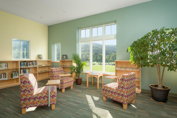 Waterbury VT library sunny seating