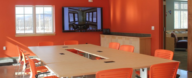 Waterbury Vermont Municipal Center orange paint