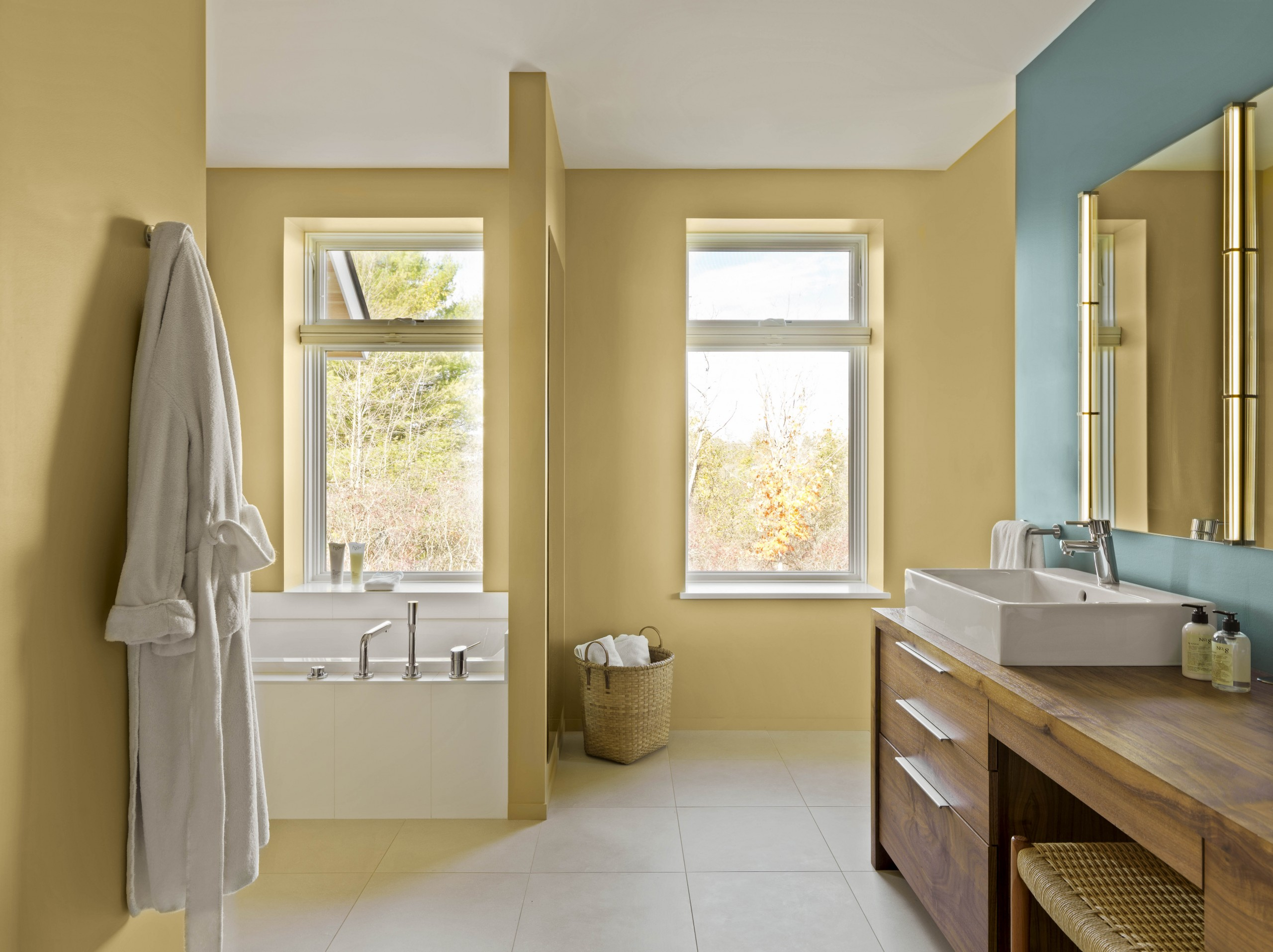 Yellow and blue master bath paint