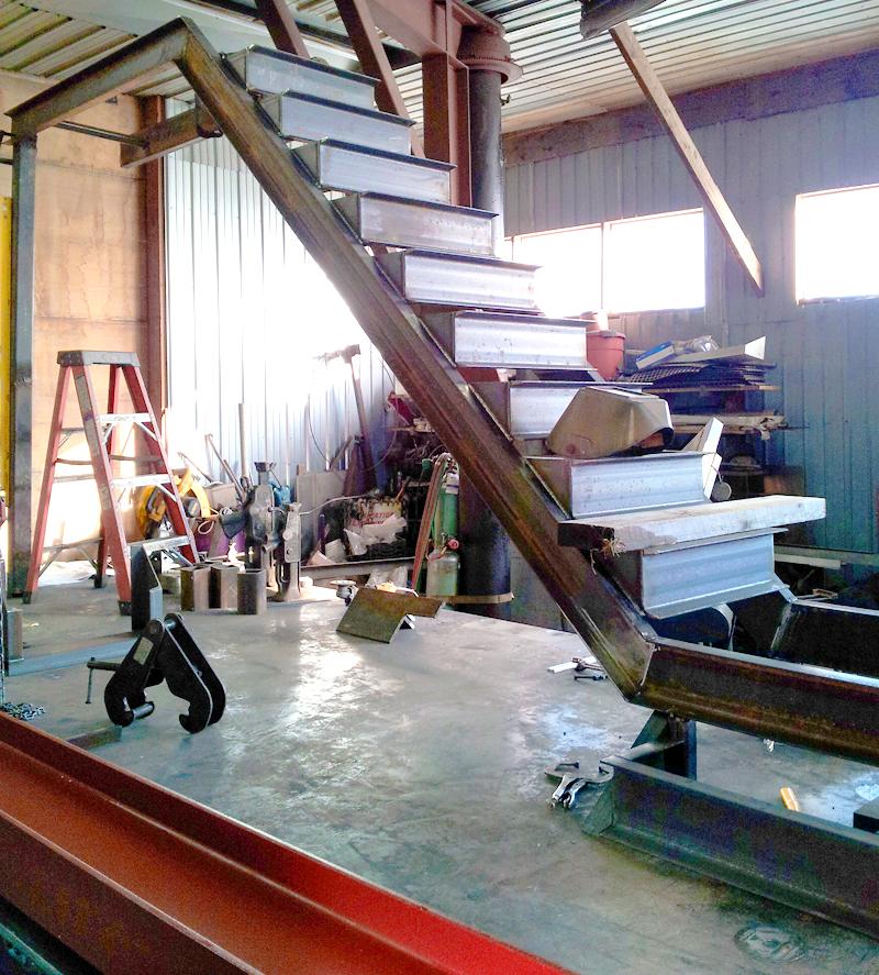 writer's studio stair construction